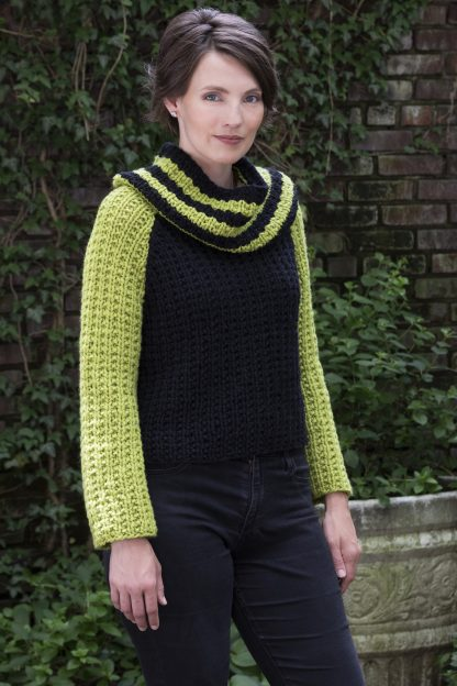 Weehawken Hi-Lo Pullover in SPENCER & Striped Cowl