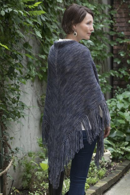Boat Basin Fringed Shawl in ALDEN PRINT - Back View