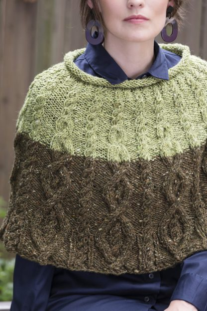 Cruiser Cabled Colorblock Capelet in DONEGAL TWEED